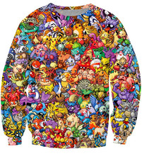 Original 150 Pokemon 8-Bit Collage Pokemon Crewneck Sweatshirt Women Men 90s video game and anime 3d Sweats jumper pullovers