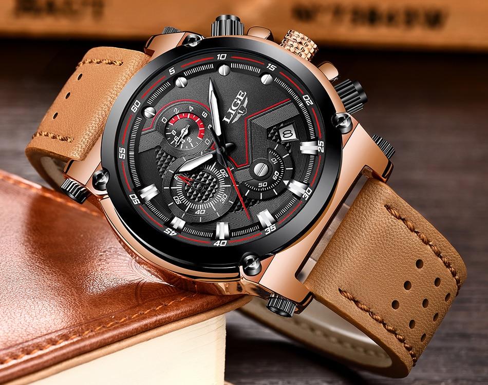 Reloje 18 LIGE Men Watch Male Leather Automatic date Quartz Watches Mens Luxury Brand Waterproof Sport Clock Relogio Masculino 20