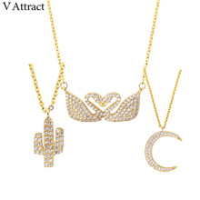 V Attract Tattoo Choker 2017 CZ  Love Swan Necklace Pendant Vintage Jewelry Moon Charm Collier Gold Color Cactus Charm