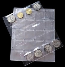 1PC 20 Pockets Coin Album Page Folder Clear Pockets 45*45mm Coin Storage Album Pages 252x200mm