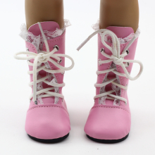 Dolls Shoes Fit for 18 inch American Girl Doll Vintage Pink Princess Boots With Lace Fashion Dolls Accessories(China)