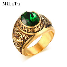 MiLaTu Largre Deluxe United States Army Military Ring For Men Boys Gold-color Stainless Steel Punk Vintage Men Jewelry R496G(China)