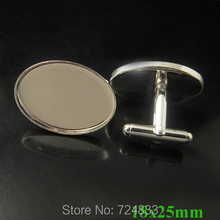 New Rhodium tone 18x25mm Oval Bezel tray Bases Cabochon Settings Metal Men's Cuff link Blank Cufflinks Findings Wholesale(China)