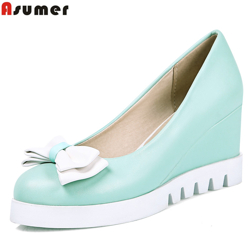 big size 34-43 new fashion wedge shoes sweet bowtie platform women pumps round toe high quality wedding shoes woman high heels<br><br>Aliexpress