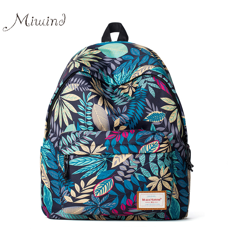 Fashion Colorful Leaves Printing Anime Canvas Women Men Backpack School Laptop Notebook Bag Teens Girl Casual New Travel Mochila<br><br>Aliexpress
