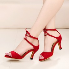 2017 New Arrival Suede Latin Dancer Female Soft Salsa Tango High Heel Spring Summer Red Social Interaction Dance Sandals  VA20