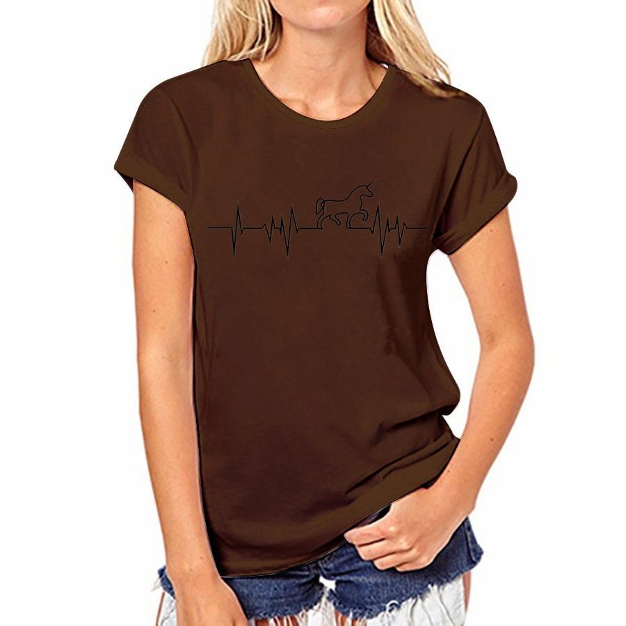 17 couleur D'été T-shirt Sexy Femmes Casual Tops Coton T-Shirt Harajuku Shirts Licorne O-cou À Manches Courtes Tops T-shirt Femelle 35