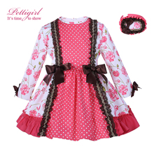 Pettigirl England Style Autumn Pink Girl Floral Dress Long Sleeve Jacquard Dress Vintage Children Party Clothing G-DMGD007-A135(China)