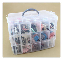 Free Shipping 3 Layers 30 Lattices Plastic Storage Box Storage Box Transparent Large Storage Box Jewelry Box
