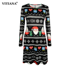 Women Plus Size S-5XL Christmas Party Dress Female 2017 Autumn Long Sleeve Casual Print Short Dresses Cartoon New Year Clothing