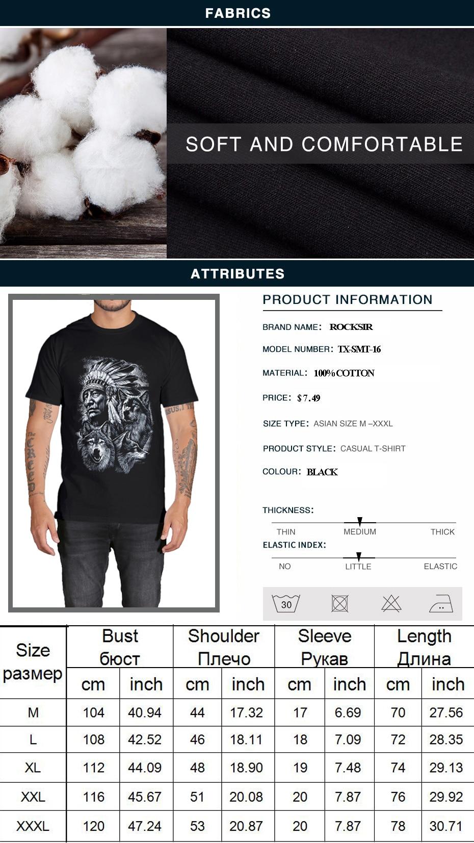 Rocksir 3d wolf t shirt mens Brand 3D Indians wolf Print t shirts Cotton wolves Men t-shirt Casual Man Tees Mens Tops 1