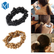 Women Imitation Pearls Ponytail Holders Scrunchy Girls Elastic Hair Band Headwear Stylish Female Rubber Band Hair Accessories(China)