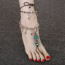 Fashion Silver Anklets For Women Bohemian Foot Chain Barefoot Sandals Ankle Bracelet Cheville Pulsera Pie Vintage Feet Jewelry(China)