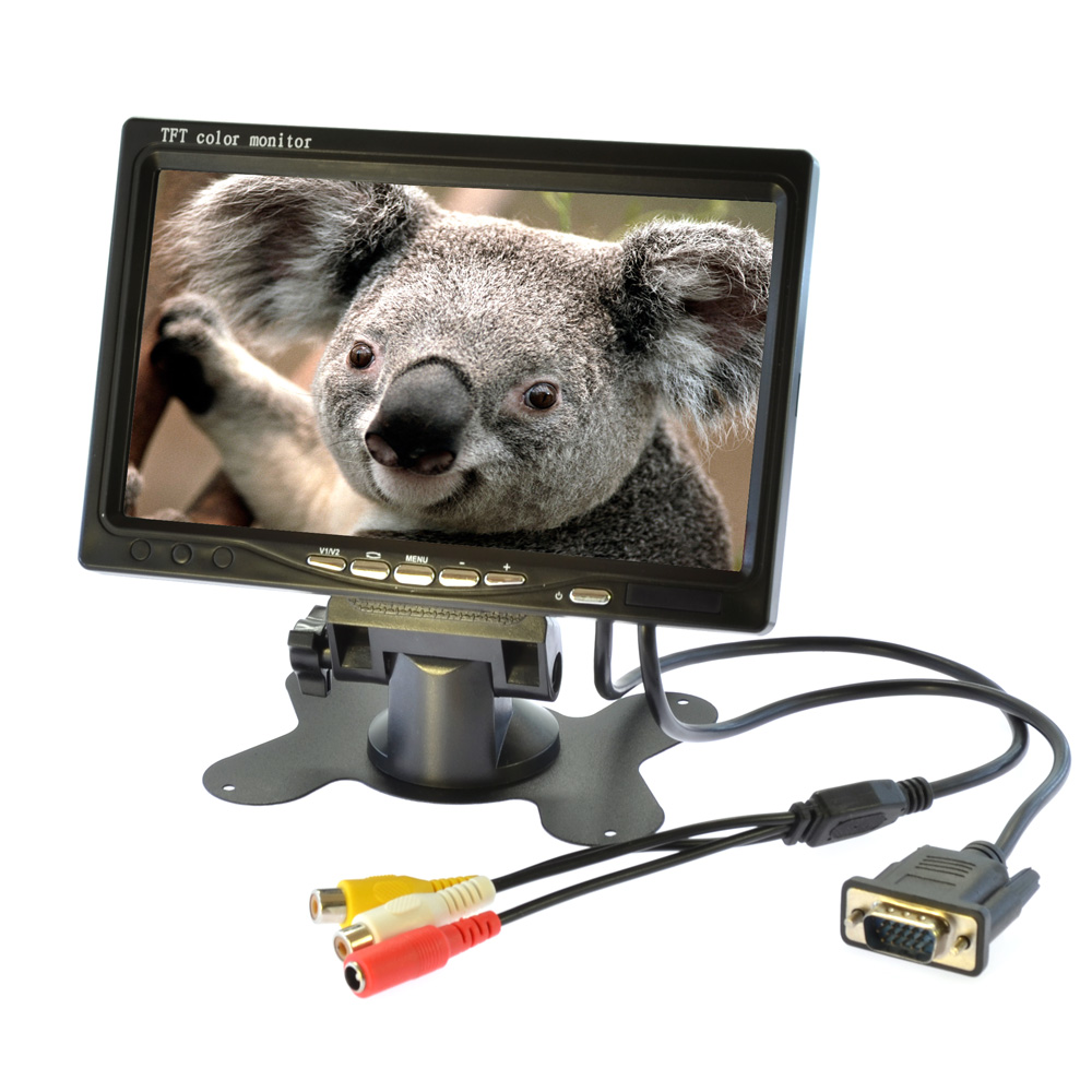 7 Inch TFT-LCD high-definition LCD Car Monitor HD Digital VGA/AV Car VCR Monitor 2 Video AV In 1024x600<br><br>Aliexpress