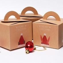Merry Christmas Candy Box Bag Protable Cake Cookie Box Christmas Eve Apple Gift Bag Art Paper Container Supplies S3