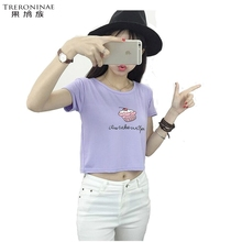 TRERONINAE crop top women 2017 summer short t shirt cotton camiseta female o-neck sexy loose blusas short sleeve tees shirt(China)