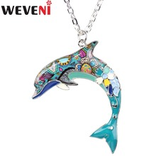 WEVENI Statement Maxi Enamel Alloy Dolphin Necklace&Pendants Collar Fashion Accessories Genuine Ocean Animal Jewelry For Women(China)
