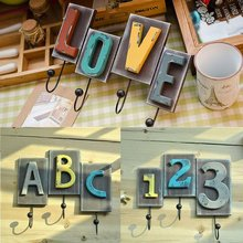 Zakka Creative Retro Old European Style Coat Hook Clothing Hanger Love Letter Shape Home Furnishing Articles(China)