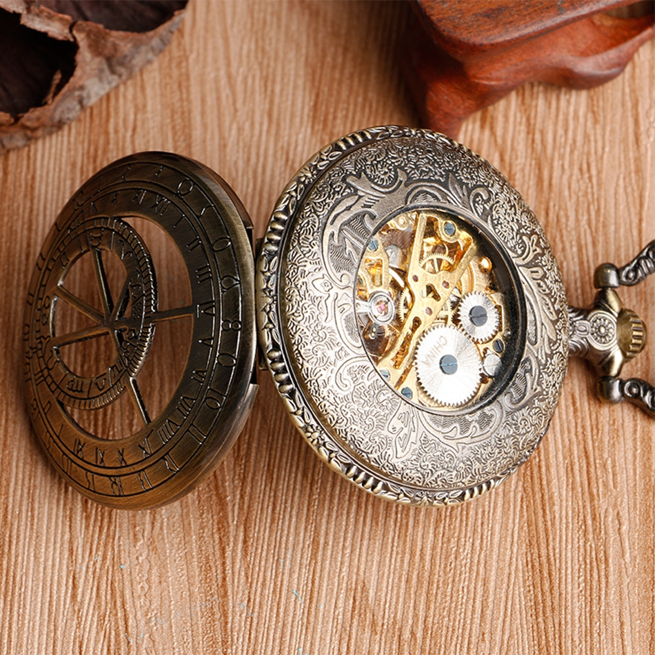 YISUYA Hollow Pendant Pocket Watch Men Prague Constellation Mechanical Hand Winding Copper Compass Women Christmas Xmas Gift (5)