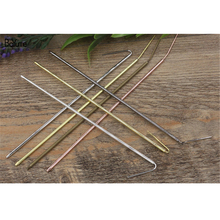 BoYuTe 10 Pieces 145*2.5MM Add 30MM Pin Metal Hair Stick 7 Colors Diy Hair Jewelry