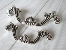 Shabby Chic Dresser Pull Drawer Pulls Door Handles Silver Black French Country Vintage Furniture Cabinet Knobs Pull Handle