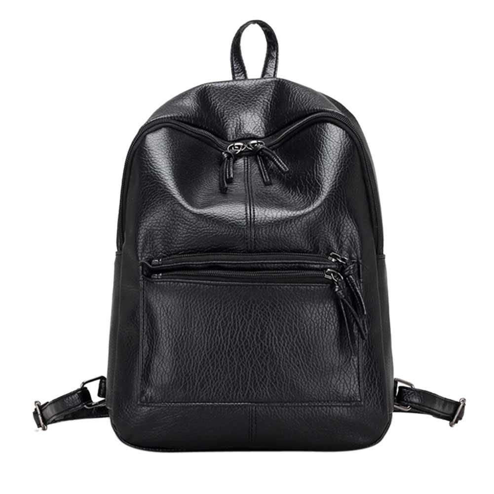 New Fashion Casual Women PU Leather Backpack Black Solid Retro Vintage Backpack Girls School Bags Ladies Travel Leisure Bags<br><br>Aliexpress