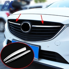 AX Chrome Front Center Mesh Grille Cover For Mazda 6 Atenza m6 Gj 2014 2015 Trim Radiator Strips Molding Garnish Decoration(China)