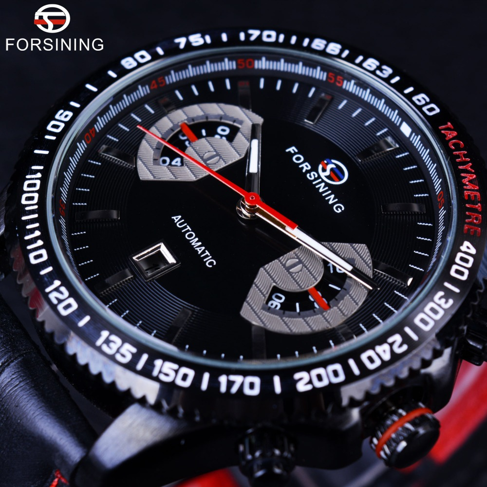 Forsining 2016 Sport Racing Fashion Style Red Leather Band Date Display Digital Sport Design Bezel Automatic Watch Clock Men<br>