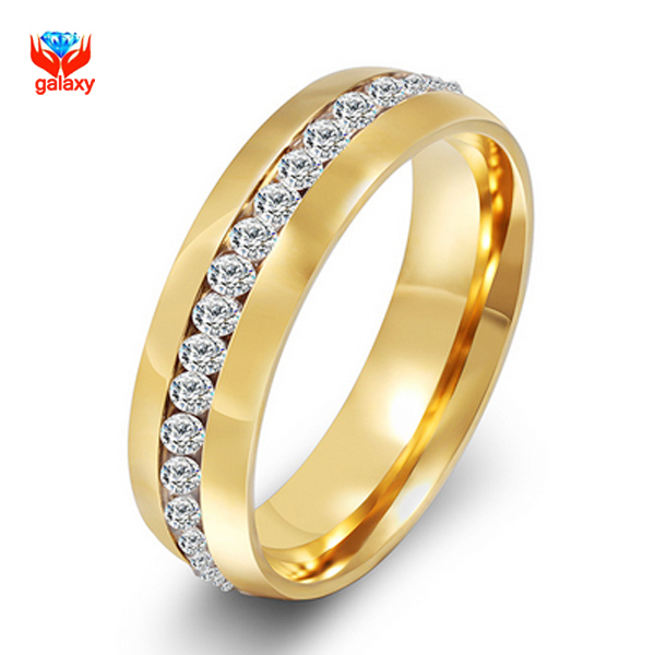 New Fashion 24k Gold Filled Cz Diamant Zircon Engagement Wedding Rings For Men