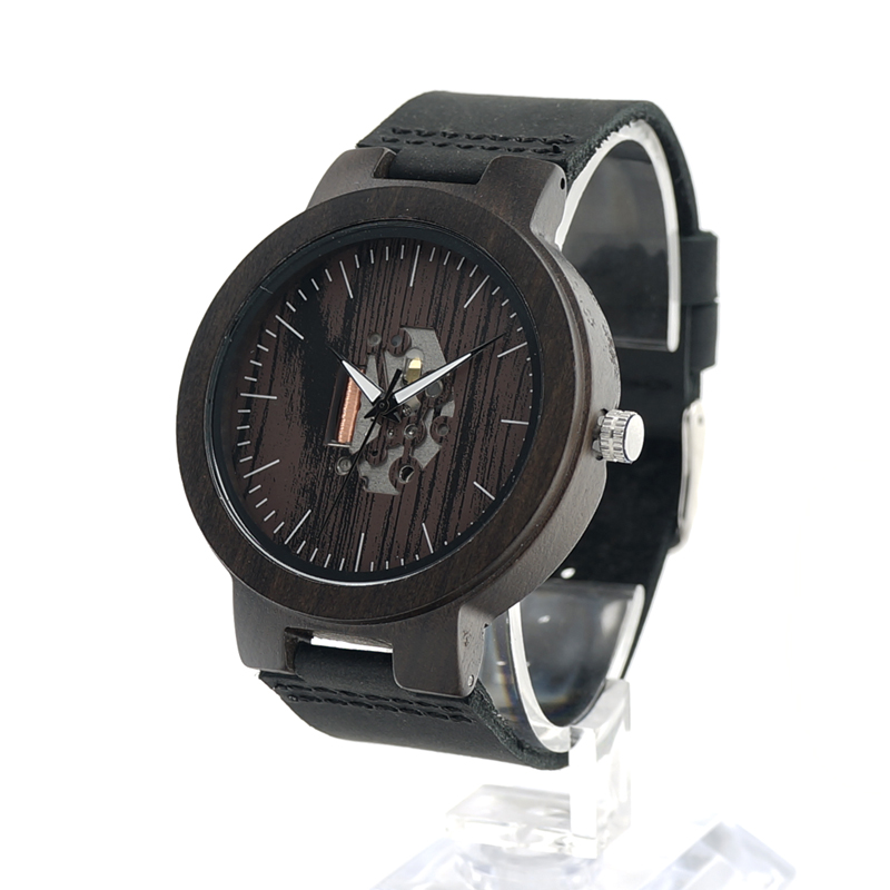 BOBO BIRD H29 Mens Wooden Watch Doodle Paint Dial Exposed Movement Quartz Wristwatch with Leather Strap reloj de los hombres<br><br>Aliexpress