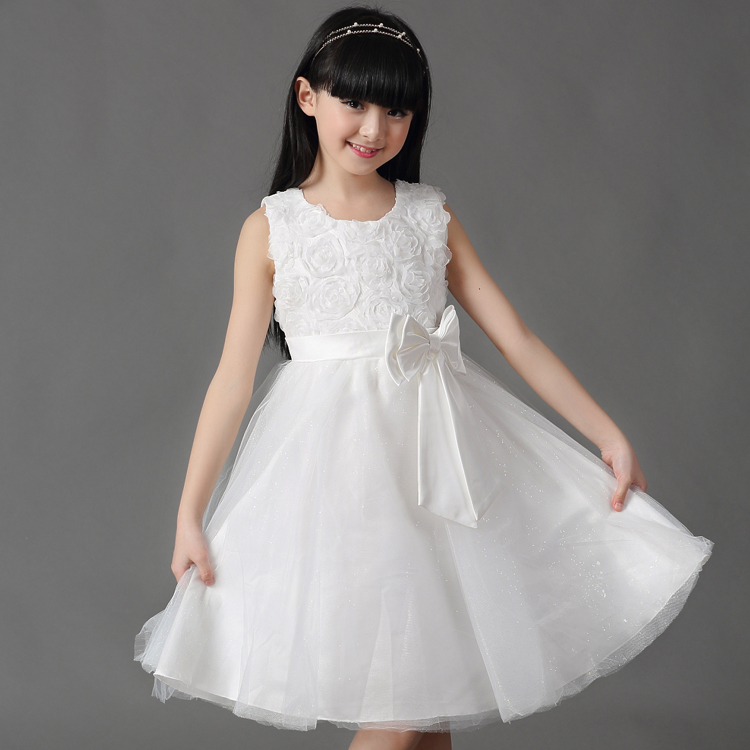 2017 children princess dress white and red wedding show dress 24M-7T<br><br>Aliexpress