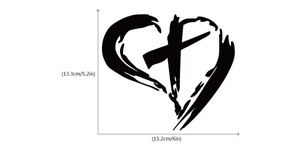 3S MOTORLINE 2X Silver 4 Jesus Heart Vinyl Decal Sticker Car Window Bumper God Love Christ