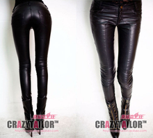 Women's brand fashion charm elegant pencil pants slim skinny pants leather boot cut jeans pants trousers , can be customized(China)