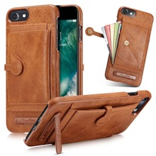 For Iphone 6 6s 7 Plus Case Leather Cases Card Pocket Mini Stand Holder Cover Back Man Lady Business Fashion Hard Original Shell