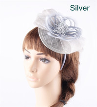 17 Colors sinamay silver base derby fascinators bow hats on hair bands elegant women fashion feather flower banquet headpiece(China)