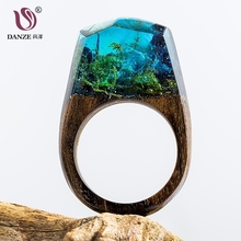 DANZE Magic Wooden Ring For Women Secret Forest Resin Inside World Wood Finger Jewelry Accessories Dropshipping Supplier Gifts(China)