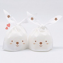 50 Piece/Set Cute Easter Bunny Cookies Bag Organizer Kawaii Rabbit Ear Plastic Bag Chocolates Easter home decorations
