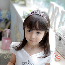Fashion Lovely Little Girls Rhinestone Princess Crown Headband Tiara Hair Sticks Hot Sell