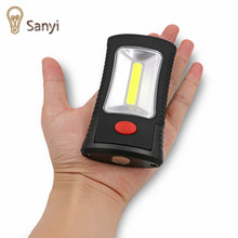 Sanyi 2-Modes COB LED Magnetic Working Folding Hook Light Lamp Torch Linternas Lanterna flashlight handy lighting use 3x AAA