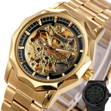 Golden Watches For Men 2017 WINNER Top Brand Luxury Men's Auto Mechanical Watches Luminous Hands Skeleton Royal Carving Series