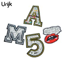 Urijk 4PCs Rhinestone Backpack Patches Iron On Embroidered Patch For Clothing Applique Number Letter Lip Sew On Badges Sticker(China)