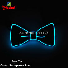 2AA Steady on el driver with Transparent Blue EL wire bow tie+ free shipping for holiday,festival,advertising and party decor