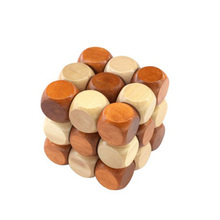 Magic Cube Style Rubber Wood Adult Children Intelligence Puzzle Lock Toy 3D Puzzle Toy(China)