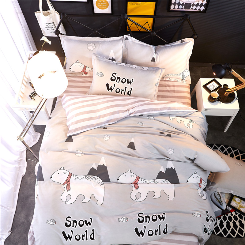 Home Textiles Lovely Polar Bear Style 100 Cotton Bedding Sets 4pcs Duvet Cover Bed