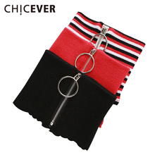 [CHICEVER] Winter Circular Zipper 100% Wool Knitted Warm Ring Choker Scarf Women New Fashion 4 Colors(China)