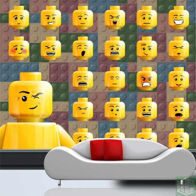 Lego bricks Wallpaper Kids Room Lego emoji Wall Mural Photo Wallpaper Boy Bedroom School dormitory wall.jpg 640x640 - Behang Lego