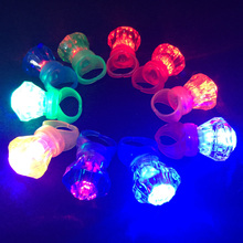 3pcs Kids Led Flashing Light Up Glowing Diamond Finger Rings Electronic Christmas Halloween Fun Toys Gifts For Children Party