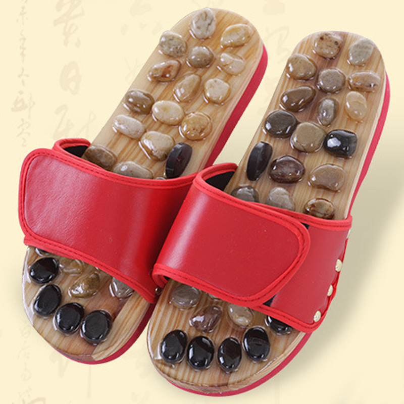Foot Massage Shoes Cobblestone Jade Slippers Acupuncture Massager Foot Pain Relief Relaxation Pebbles Shoes Phisical Therapy <br>