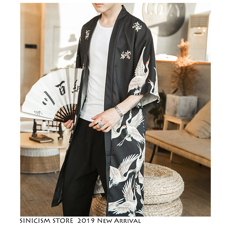 Sinicism Store Summer Trench Coat Man 2019 Casual Streetwear Men Trench Coat Chinese Style Male Kimono Open Stitch Trench 5XL