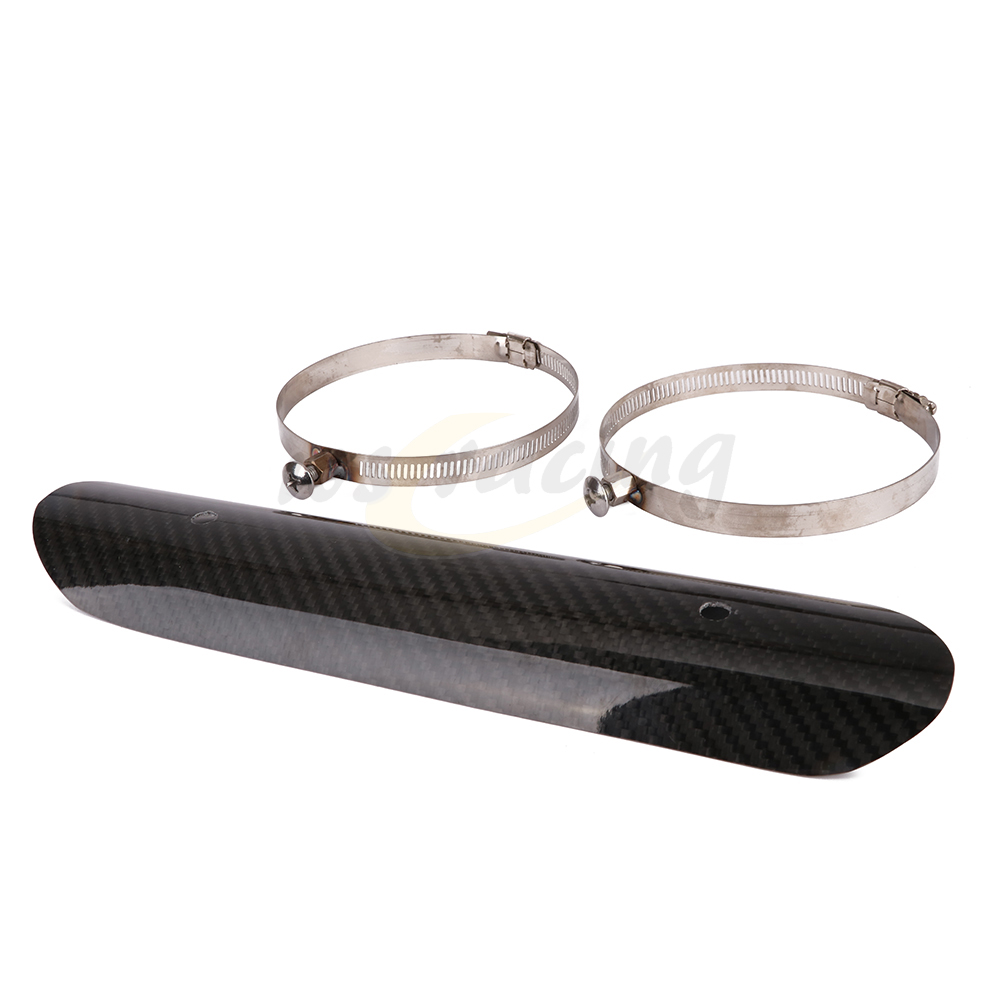 Protector-Cover Muffler Heat-Shield Exhaust-Pipe Carbon-Fiber Harley Yamaha Kawasaki title=